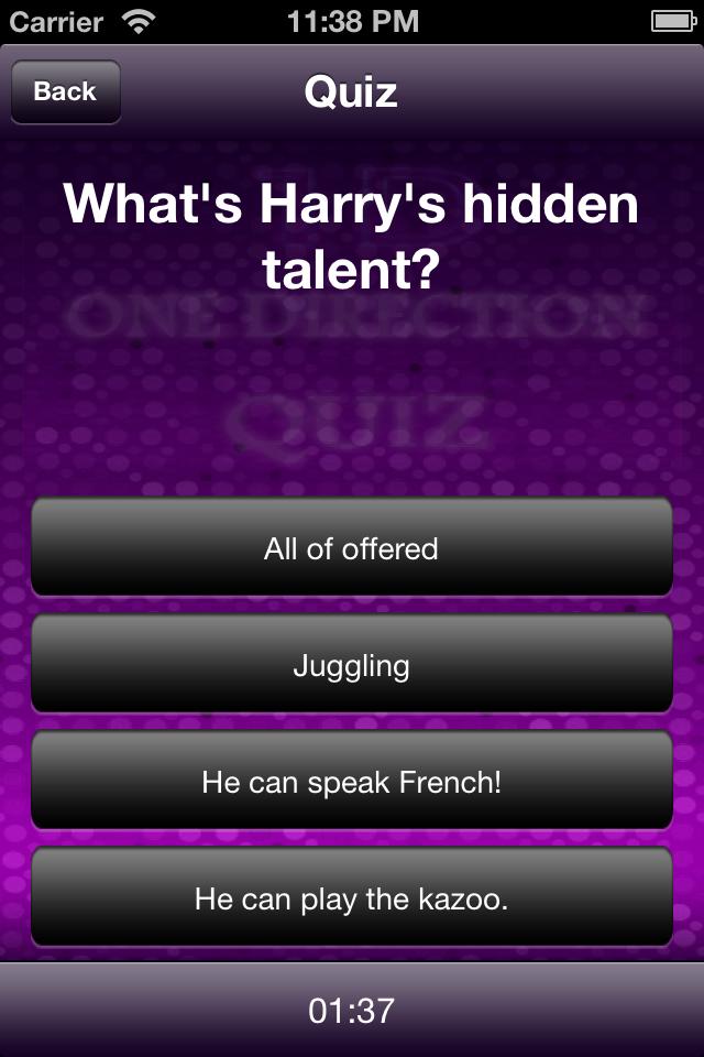 Screenshot Fan Quiz-One Direction edition